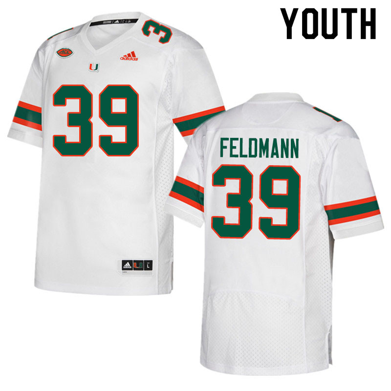 Adidas Miami Hurricanes Youth #39 Gannon Feldmann College Football Jerseys Sale-White